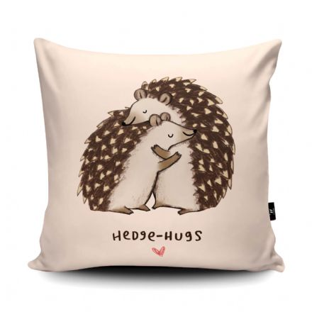 Hedgehugs Print vegan faux suede cushion with a Fibre Inner by Sophie Corrigan